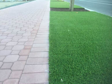 Commercial landscaping artificial turf and paver walkway